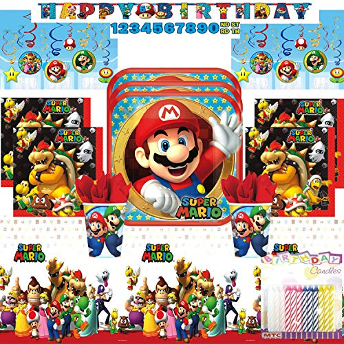 Sale!! Super Mario Bros Ultimate Birthday Party Supply Pack Serves 16: Dinner Plates, Luncheon Napki...