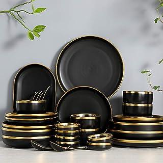 WBHZ Service De Table Complet 2/4/6 Personnes, Moderne Porcelaine Assiette Blanche/Saladier/Dessert/Assiettes Creuses Blan...