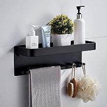 Ponsvrij opbergrek voor badkamer, aan de muur gemonteerde ruimte aluminium multifunctioneel toiletbadkamer handdoekenrek, ...
