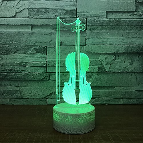 jiushixw 3D acryl nachtlampje met afstandsbediening kleur tafellamp viool variant kindergeschenk blauw grote tafellamp edelsteen