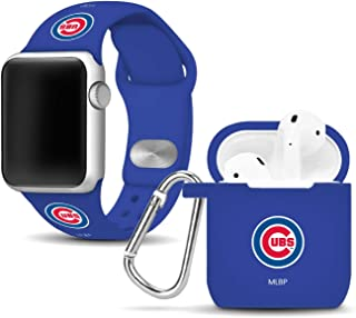 Chicago Cubs Silicone Watch Band and Case Cover Combo Compatible with Apple Watch and AirPod Case(42mm/44mm)