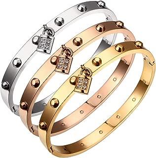 Titanium Steel Studded Love Bracelet Featuring Padlock Charm