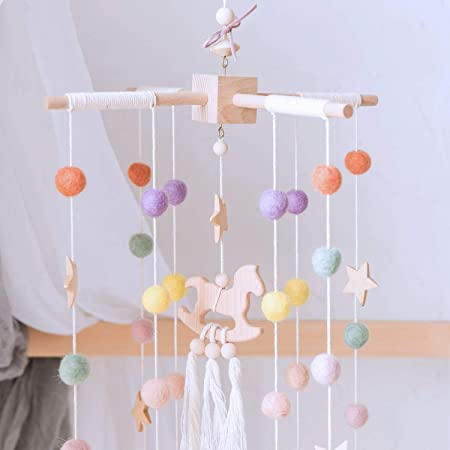 Okawari Home ベッドメリー ベビー メリー 北欧風 モビール 木製 ハンドメイド風鈴 キッズベッド 吊り下げ式 赤ちゃん ベッド飾り 撮影道具 出産祝い