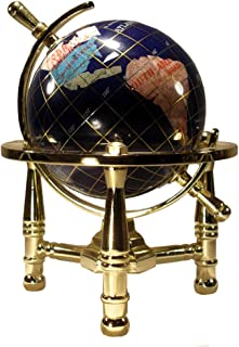 Unique Art 6-Inch by Blue Lapis Ocean Mini Table Top Gemstone World Globe with Gold Tripod