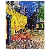 Legendarte Cuadro Lienzo, Impresión Digital - Terraza De Café por La Noche Vincent Van Gogh, cm. 80x100 - Decoración Pared