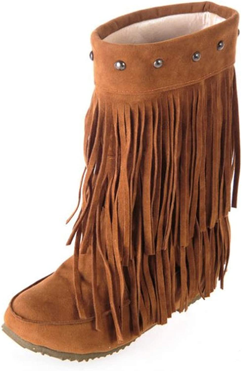 CHENSF Women's Winter Suede Boots Snow Boots with Tassel