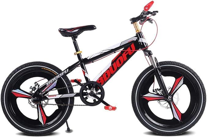 LISI Bicicleta para niños 16/18/20 Pulgadas Opcional Coche de montaña Estudiante Freno de Disco Amortiguador de una Sola Velocidad para niños en Bicicleta 4 Colores,Red,16: Amazon.es: Hogar