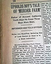 WINEVILLE CHICKEN COOP MURDERS Walter Collins Movie Changeling 1928 Newspaper THE NEW YORK TIMES, September 17, 1928
