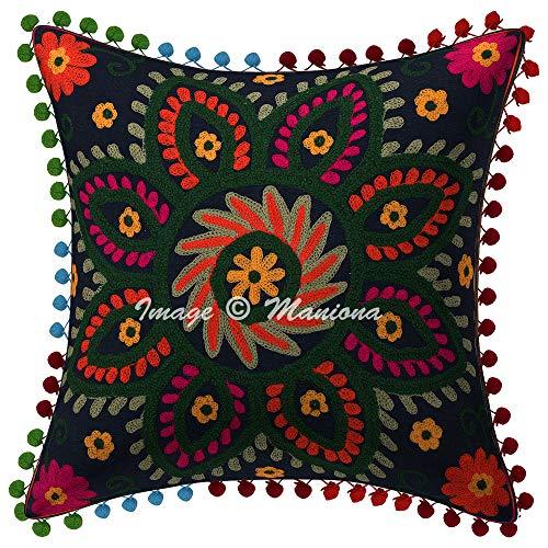 Maniona - Federa per cuscino indiano, 45,5 x 45,5 cm, con pompon di Suzani