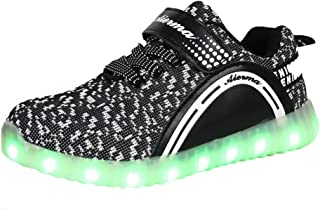 THEZX Kids LED Light up Shoes Casual Sneakers for Boys and Girls (4.5, Black)