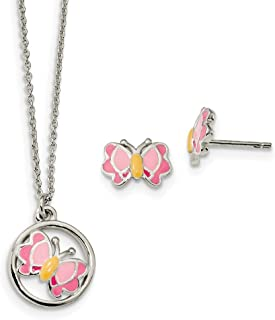 Sterling Silver Polished Enameled Butterfly Earrings and Necklace Set