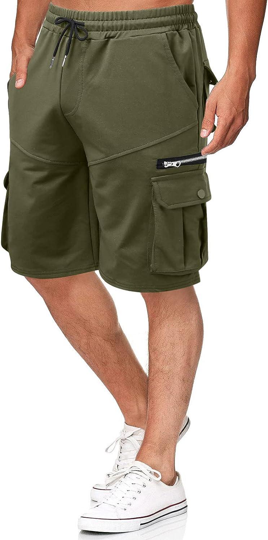 Men's Big Tall Cargo Shorts Pocket Zipper Work Shorts Pants for Men Relaxed Fit Shorts Lightweight Quick Dry Summer