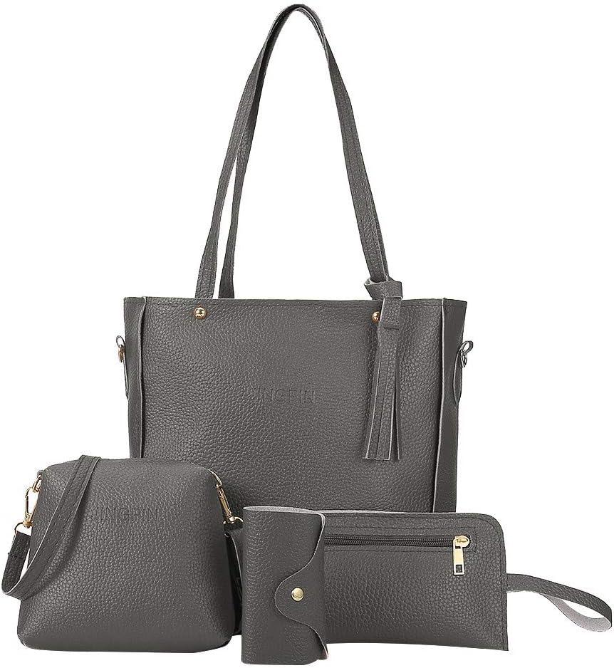 Shaloly Women Fashion Synthetic Leather Handbags Tote Bag Shoulder Bag Top Handle Satchel Purse Set 4pcs