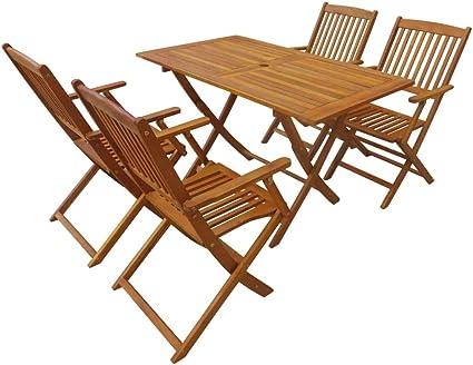 Amazon Com Pocreation Folding 5 Piece Wood Dining Table Chairs Set Outdoor Eucalyptus Wood Conversation Sets Including 1 Folding Table 4 Folding Chairs For Garden Patio Backyard Porch Poolside Balcony Sports Outdoors