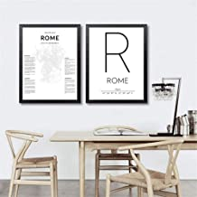 Hd 2 Pieces Rome Map Posters Canvas Prints Rome Italy City Coordinates Art Painting Black White Pictures Home Living Room Wall Art Decor 40X50Cmx2 Unframed