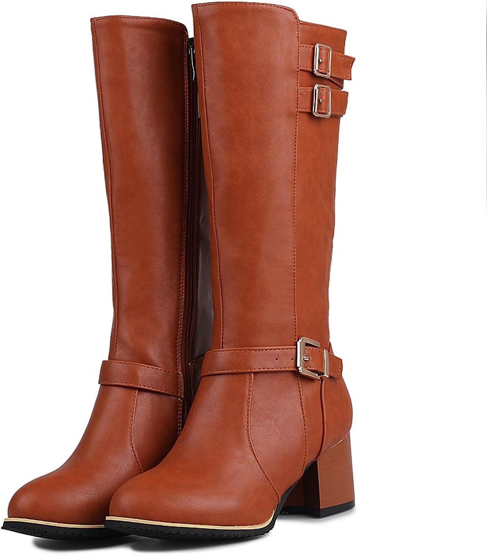 AIWEIYi Womens Closed Toe Chunky High Heels Knee High Boots Belt Bukles Warm Thigh High Boots Black