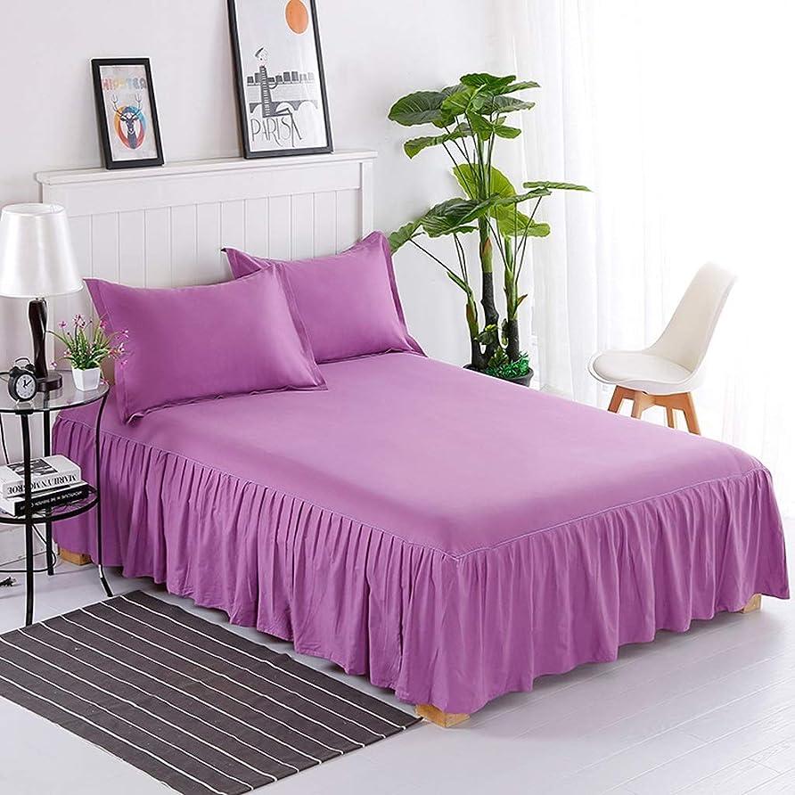 足枷低下幸運無地のコットンベッドスカート枕カバーソフトレースの寝具プリーツゴムバンド固定保護ケース - 高級ダストフリルベッドカバー (色 : 紫の, サイズ さいず : 180×200cm)