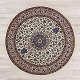 Lifetex.eu Teppich Täbriz ca. 200 cm rund Beige handgeknüpft Schurwolle Klassisch hochwertiger Teppich