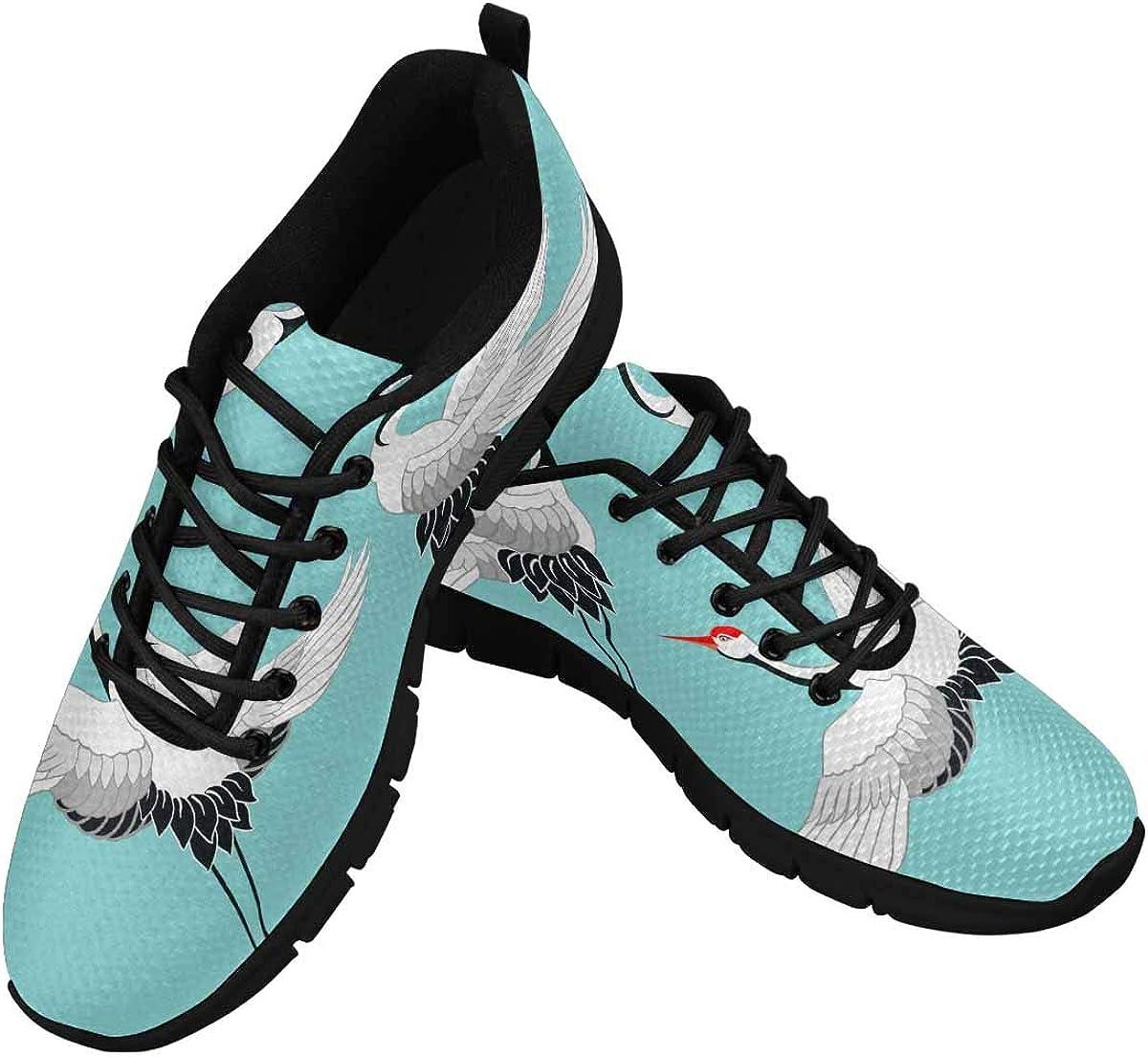 INTERESTPRINT Set of Crane Birds, Stork, Heron Women's Sneaker Lace Up Running Comfort Sports Shoes