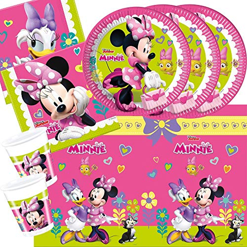 37-teiliges Party-Set Minnie Mouse - Minnie Happy Helpers - Teller Becher Servietten Tischdecke für 8 Kinder