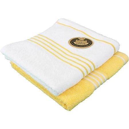 Gözze Handtuch 2er-Set, 100% Baumwolle, 50 x 100 cm, Rio, Sonnengelb/Weiß, 140-13-A4