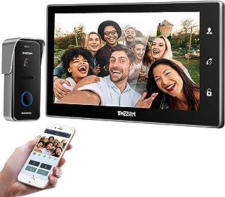 TMEZON WiFi videoportero intercomunicador Timbre Sistema de intercomunicación, Monitor WiFi de 10 Pulgadas con cámara Exte...