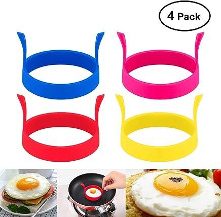 BESTOMZ 4 Farben Round Shaped Silikon Ei Fry Form Omelettes mit Griff (zufällige Farbe) - preisvergleich