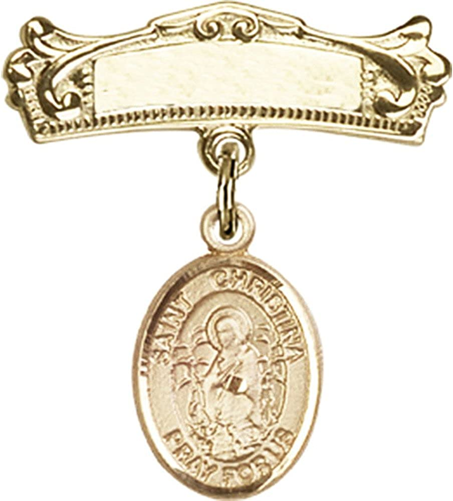 14kt San Diego Mall Yellow Gold Over item handling Baby Badge with The C Astonishing St. Christina