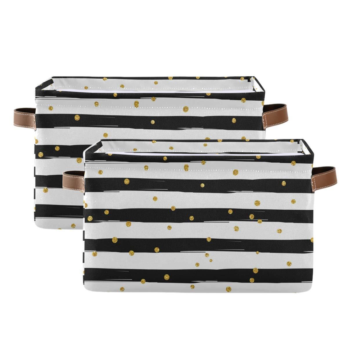 Kelekey Golden Polka Dot Stripe Large Basket Popular product Collapsible Storage Max 73% OFF