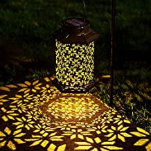 LeiDrail Solar Lantern Outdoor Garden LED Light Hanging Lanterns Metal Decorative Waterproof Landscape Lighting for Table ...