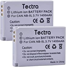 Tectra 3.7V 1400mAh Canon NB-5L Battery (2-Pack) for Canon PowerShot S100, S110, SD700, SD790, SD800, SD850,SD870 is, SD700 is, SD880 is, SD950 is, SD890 is, SD970 is, SD990 is