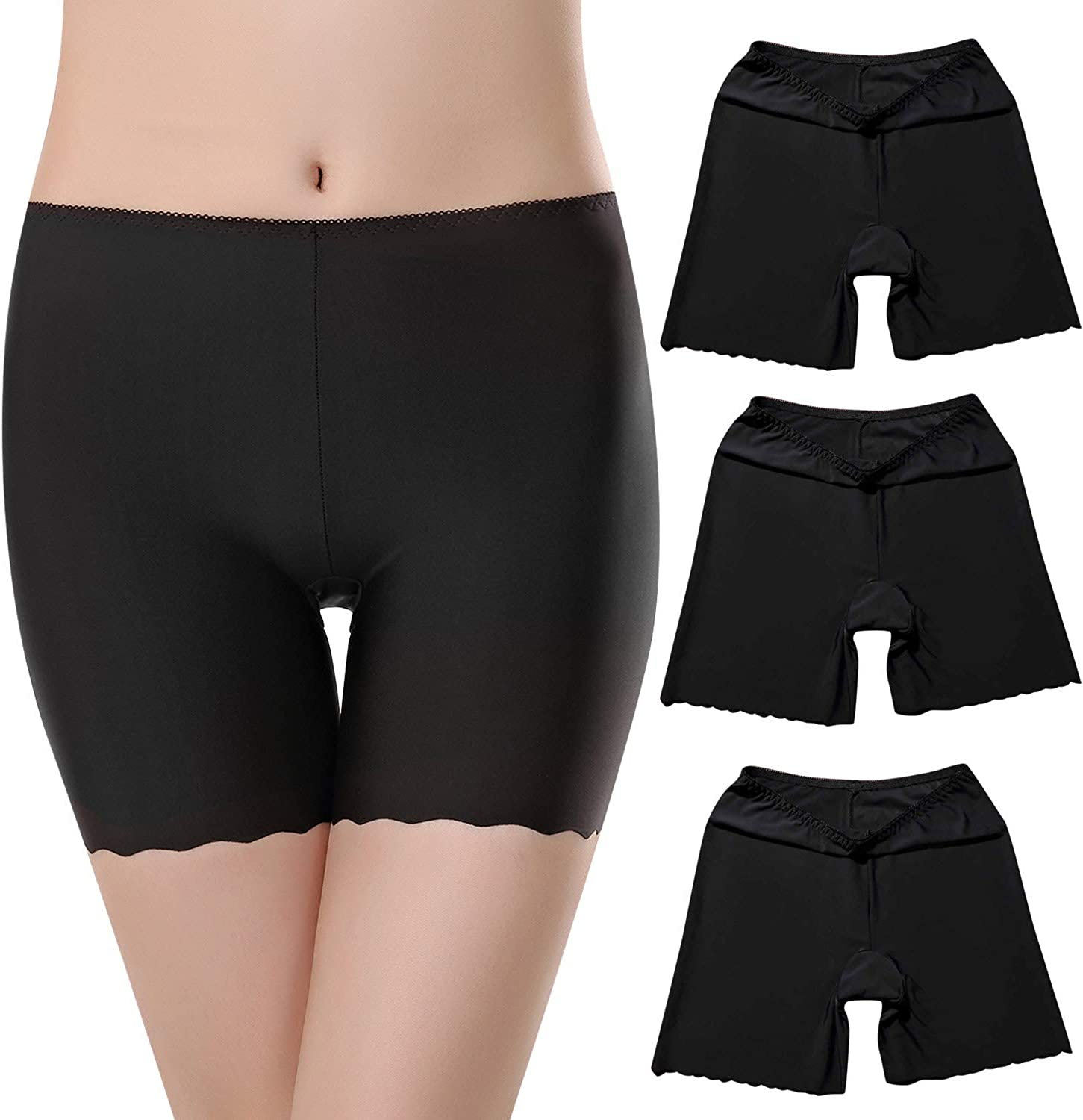 Tuopuda Womens Safety Short Anti Chafing Cotton Shorts Long Leg Knickers Briefs Stretchy Leggings Invisible Boxers Slipshort Panties for Girls 3 Pack