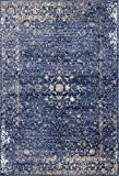 Persian-Rugs 2817 Distressed Blue 8 x 10 Area Rug Carpet Large