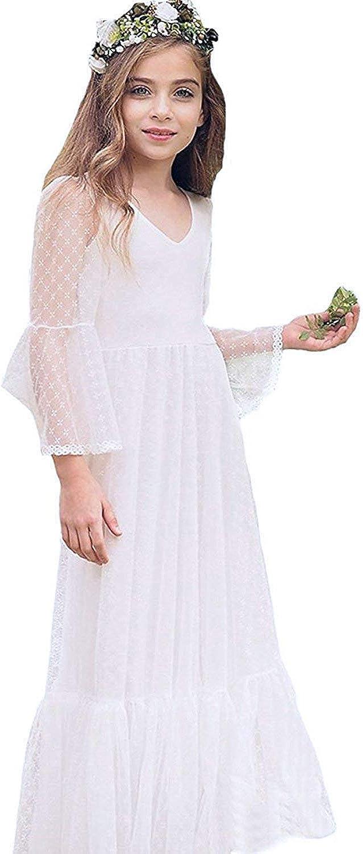 Boho-Chic Flower Girl Dress Lace First Communion Dresses