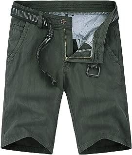 JJLIKER Men's Summer Outdoor Lightweight Hiking Shorts Sports Casual Cotton Classic Capri 3/4 Cargo Pants with Belt