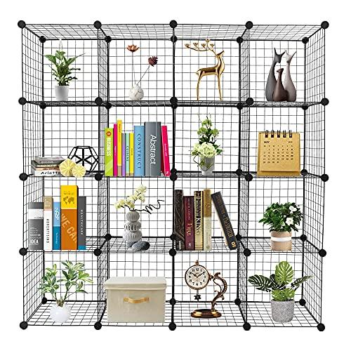 TITA-DONG Organizador de 16 cubos, estantes de almacenamiento de cubos de alambre, estantes de origami, rejilla de metal, multifuncional, estantería modular cubbies organizador estantería