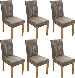 Dinning Chair Cover,BS Super Stretch Soft Fabric Washable Removable Chair Covers Slipcover Seat Protector for Home Decor,Dining Room,Hotel,Ceremony,Banquet,Wedding Party(6Pack, F Pattern)