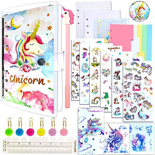 7 Piezas Estuche Unicornio Set de Papelería, Unicornio Piezas Set de Papelería,Unicorn Notebook y Juego de Bolígrafos Para Niños, Regalos de Unicornio para Niñas Niños