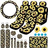 BQTQ 24 Pcs Sunflower Car Accessories Set with Sunflower Car Seat Covers Full Set Sunflower Steering Wheel Cover Seat Belt Covers Center Console Armrest Pad Cover