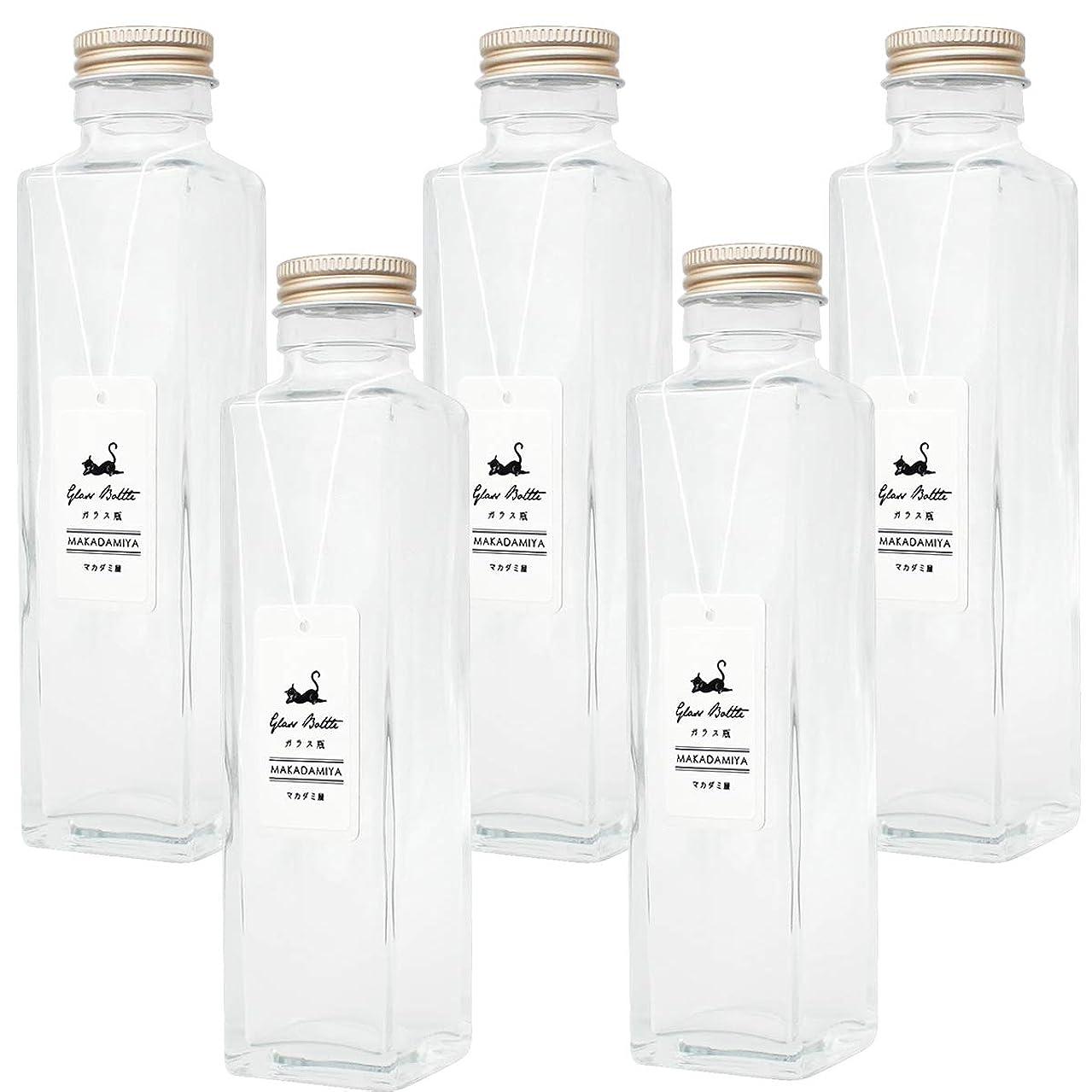 に対処する罪悪感ごめんなさいガラス瓶角型150ml×5本セット (スクリューキャップ付き) ハーバリウムに最適