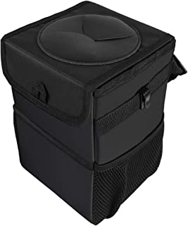 GoolRC Lixeira de automóveis Lixeira automotiva com tampa dobrável Recipiente de lixo para veículos com bolsos de armazena...