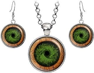 Green Zombie Eyes Pendant Necklace, Walking Dead Earrings, Zombie Jewelry, Z Nation Jewelry, Zombies Birthday Gift, Geek Geeky Gifts, Nerd Nerdy Present