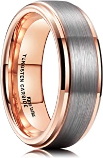 Duo Unisex 5mm 6mm 7mm 8mm 18k Rose Gold Plated Tungsten Carbide Ring Two Tone Wedding Band