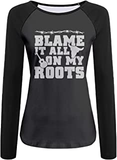 Women's Blame It All On My Roots Casual Crew-Neck T-Shirt With Long Sleeves