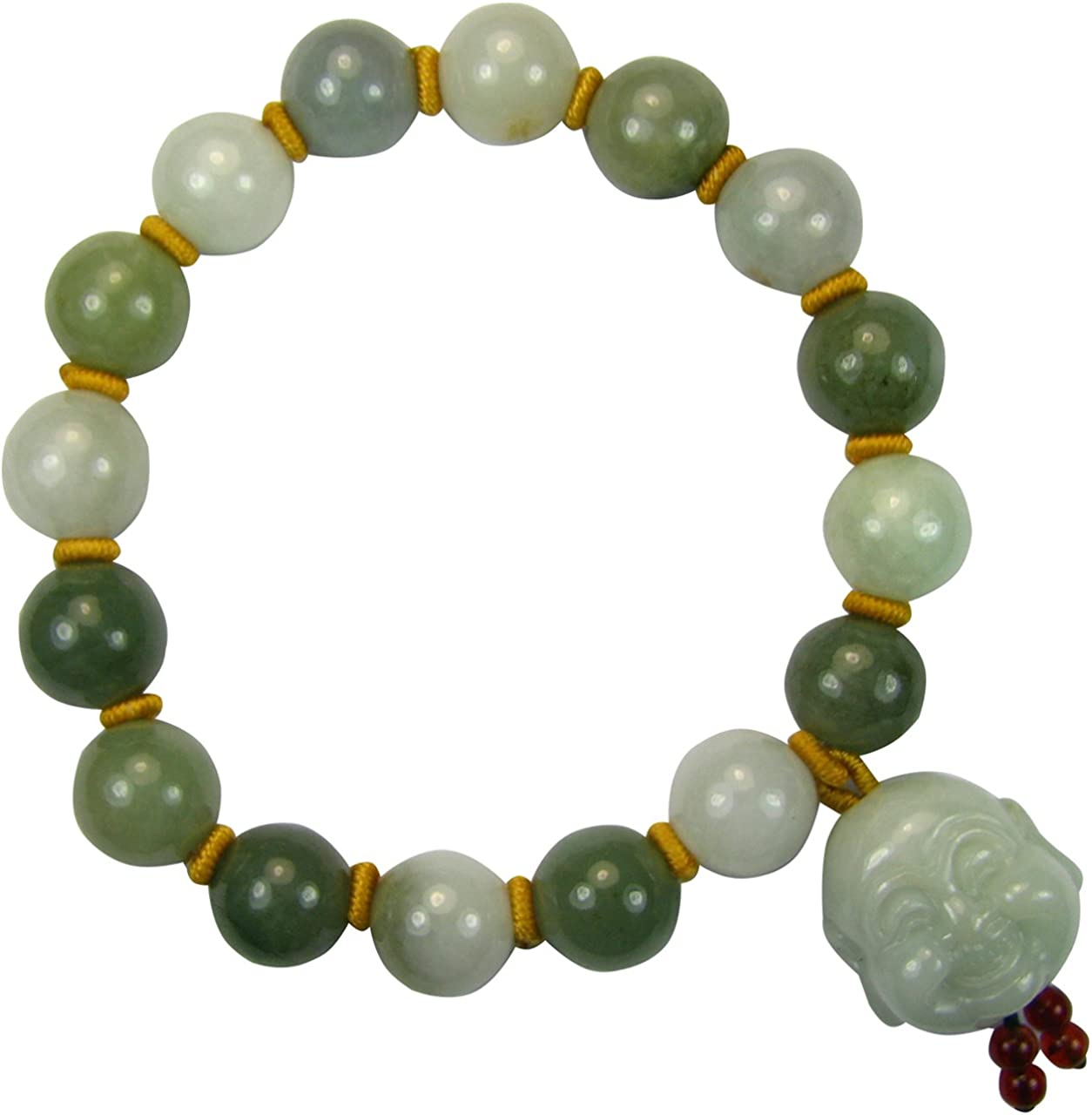 Dahlia Laughing Buddha Jade Bead Bracelet Genuine Certified Grade A Jadeite