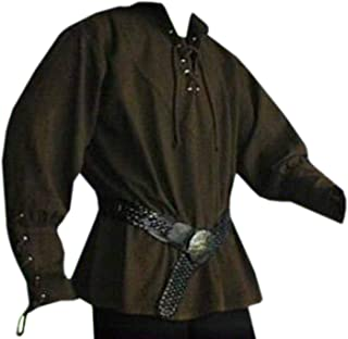 Men's Medieval Lace up Pirate Mercenary Scottish Wide Cuff Shirt Costume
