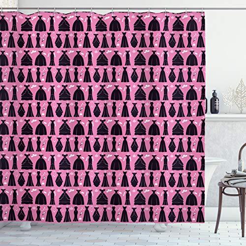 ABAKUHAUS Mode Douchegordijn, Cocktail Jurken baljurken, stoffen badkamerdecoratieset met haakjes, 175 x 240 cm, Roze Dark Chestnut Brown