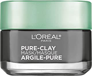 Clay Facial Mask, L'Oreal Paris Skincare Pure Clay Face Mask with Charcoal for Dull Skin to Detox & Brighten Skin, at home...