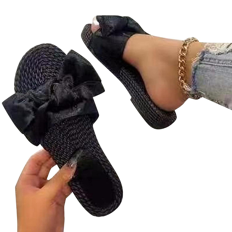 Padaleks Women's Flip Flops Sandals Anti Slip House Slippers Bow
