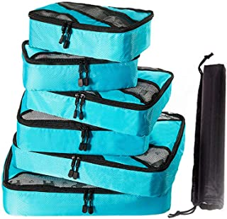 Packing Cubes Travel Storage Bags Luggage Organizer Pouch with Shoes Bag Travel Luggage Organizers Compression Packing Bags 7pcs Sky Blue